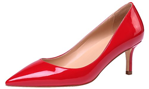 AOOAR Damen Kitten-Heel Elegante Rot Lackleder PumpsSchuhe EU 40