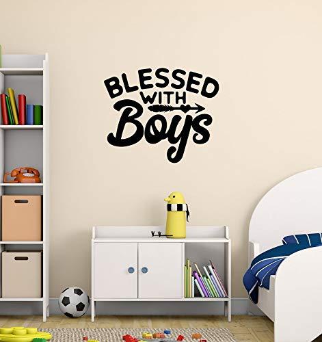 Autocollant mural en vinyle noir avec inscription en anglais « Boys' Saying » pour décoration de la maison, chambre d'enfant, décoration murale pour garçons, grand autocollant, citation « Blessed »