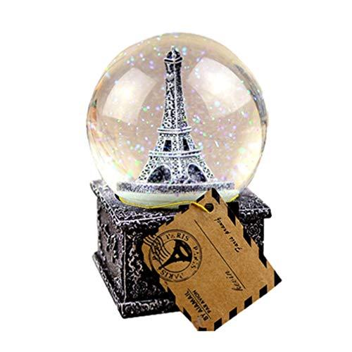 Mobestech Crystal Ball Music Box Vintage Eiffel Tower Snowflake Music Box para Niños Regalos de Navidad Año Nuevo