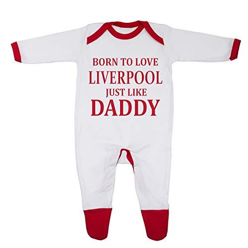 Pijama «Born To Love Liverpool Just Like Daddy», diseñado e impreso en el Reino Unido con 100% algodón peinado fino