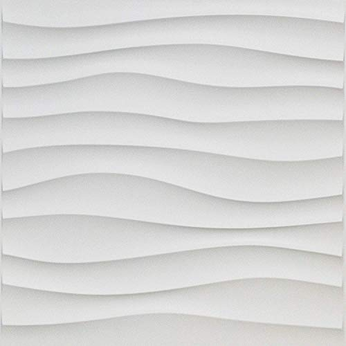 Art3d 3D-Wandfliesen aus PVC, für Innenwand, Welle matt, Weiß, 50 x 50 cm, 12 Stück