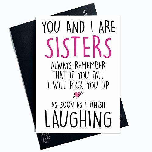 Grappige kaart Voor Zuster Nieuwigheid Kaarten Zuster Kaart Verjaardagskaarten Kerstkaarten Zuigen Kaart Familiekaart We Zijn Zusters Grappige Banter PC336