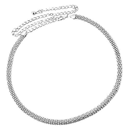 MagiDeal Hochzeit Schärpe Hüftgürtel Taillengürtel für Abendkeid Cocktailkleid - Silber, 115CM