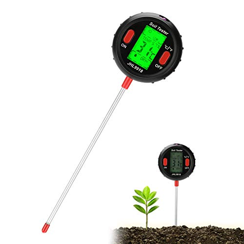 Jhua Soil Tester 5 in 1 Digital Moisture Meter PH Levels Sunlight Intensity Test Temperature Measuring Tester Environmental Humidity Measurement for Indoor Outdoor Lawn Grain Flower Grass Care