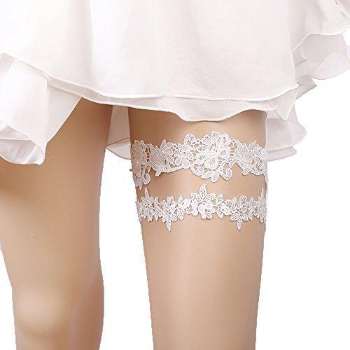 Lace Garter Set Wedding Garter Belt Flower Floral Design Garter for Bride Ivory