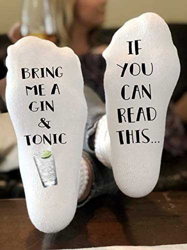 If You Can Read This Bring Me Novelty Socks - Gin and Tonic - Funny Socks For Men and Women Christmas Stocking Stuffers Gift Ideas