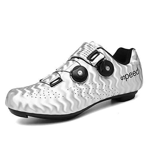Zapato De Ciclismo Transpirable De Bikeshoes De Carreteras para Hombres para Mujeres Zapatos De Bicicleta Compatibles con SPD Y Tacos Delta,Blanco,38 EU