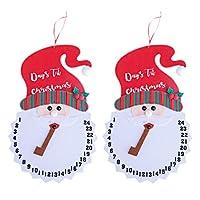NUOBESTY 2Pcsクリスマスカウントダウンカレンダー飾りサンタクロースツリー吊り飾りクリスマスホリデーパーティー用品赤