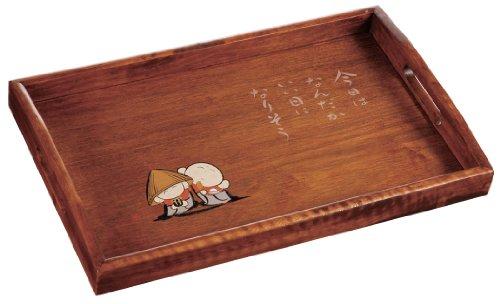 幸せ地蔵 木製 14.0 長手盆 25M12-4