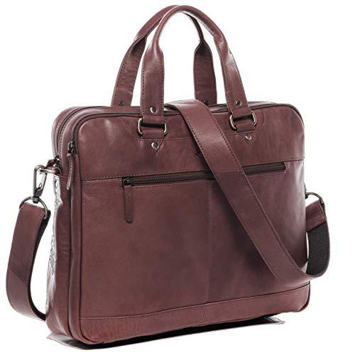 SID & VAIN Laptoptasche echt Leder Yann groß Businesstasche 15 Zoll Umhängetasche Aktentasche Lehrertasche Laptopfach Ledertasche Unisex braun
