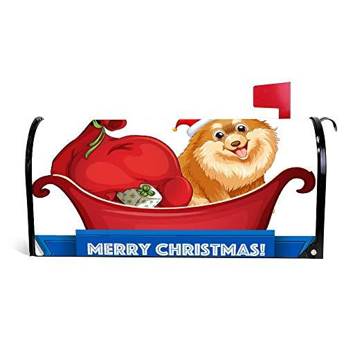 wendana Briefkastenabdeckung mit Weihnachtsmotiv mit Hund und Geschenken auf Schlitten, magnetisch, Vinyl, 45,72 x 53,3 cm