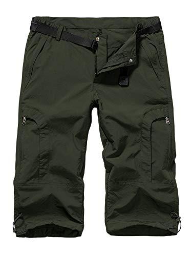 linlon Women's Quick Dry Cargo Shorts,Outdoor Casual Straight Leg Capri Long Shorts for Hiking Camping Travel,Army Green,26