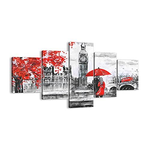 Quadro su tela - 5 Parties - Londra l'architettura il Big Ben - 125x70cm - Pronto da appendere - Home Decor - Stampe su Tela - Quadri Moderni - completamente incorniciato - EA125x70-3153