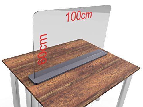 Spuckschutz aus Plexiglas mit 5mm, Virenschutz Hustenschutz Niesschutz, Thekenaufsatz Tischaufsatz Tresenaufsatz, (60-100x60cm) (100x60cm)