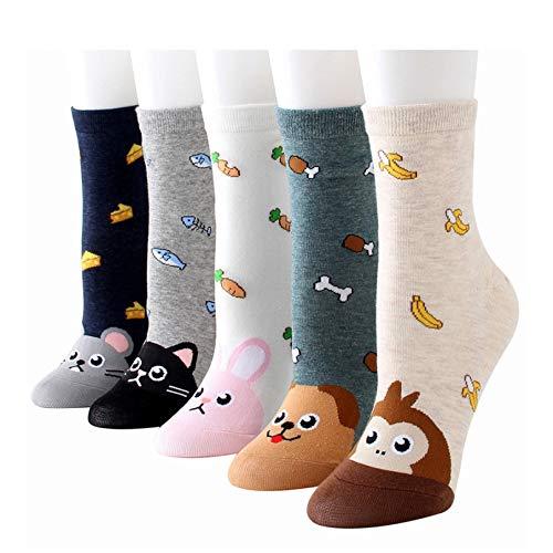 10 Pares Funny Animals Patterned Women Socks Cute Pattern Monkey Dog Cat Fish Bone Carrot Banana Casual Cotton Short Socks