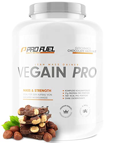 VEGAIN PRO | Weight & Mass Gainer | 100{bcf9da622780e2b8d2f0801243c6ed90a83d602a7bcecc763280c4739aa01bda} Vegan | Komplexe Kohlenhydrate + veganes Protein für den Muskelaufbau | Sehr lecker | Ohne Maltodextrin | Made in Germany | 2,2 kg - CHOCOLATE HAZELNUT