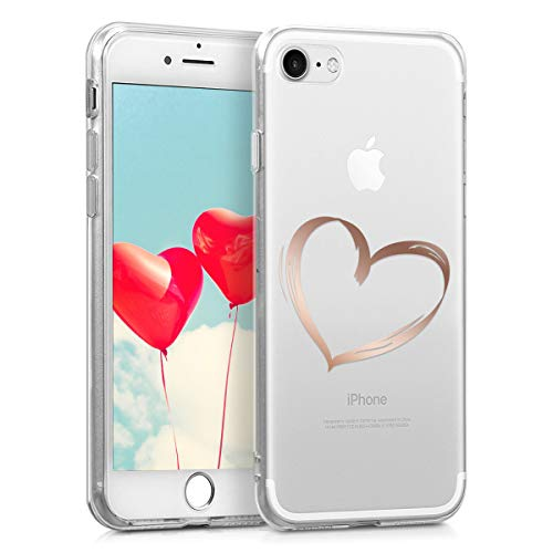 kwmobile Hülle kompatibel mit Apple iPhone 7/8 / SE (2020) - Handyhülle - Handy Case Herz Brush Rosegold Transparent