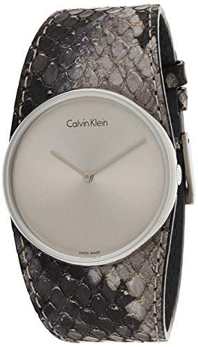Calvin Klein Damen Analog Quarz Uhr mit Leder Armband K5V231Q4