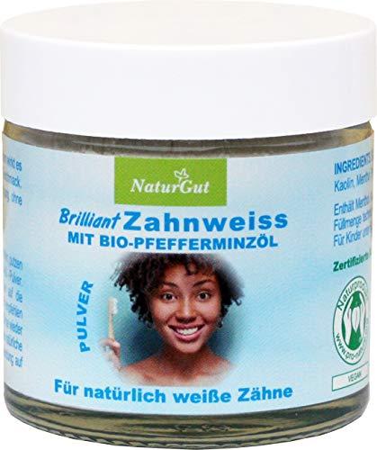 NaturGut Brilliant Super Zahnweiss Pulver Zahnaufheller 40g Enthält Menthol Frischer Atem durch naturreines Pfefferminzöl Zahnweiß-Pulver Zahnpflege medizinisch