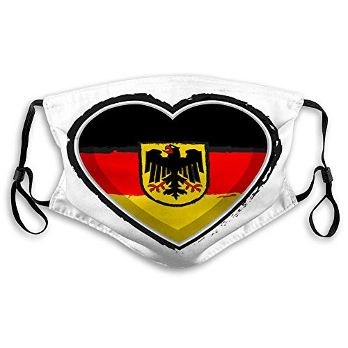 DISGOWONG Anti Dust Breathable Reusable Outdoor Mouth Cover Heart Shaped Flag of Germany Unisex Shield