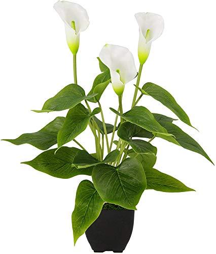 XIABAN Kunstpflanze Calla im Topf mit weißen Blüten Künstliche Blumen Kunstblumen Seidenblumen Blumen aus Kunststoff Deko Gefälschte Blumen Topfblume Blumensträuße