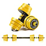 CDCASA Adjustable Dumbbells, 44 Lbs Free Weight Set, Dumbbell Barbell 2 in 1, Solid and Configurable with Rubbery Protective Cover, Easy Assembly and Save Space, Home Gym Equipment for Men and Women