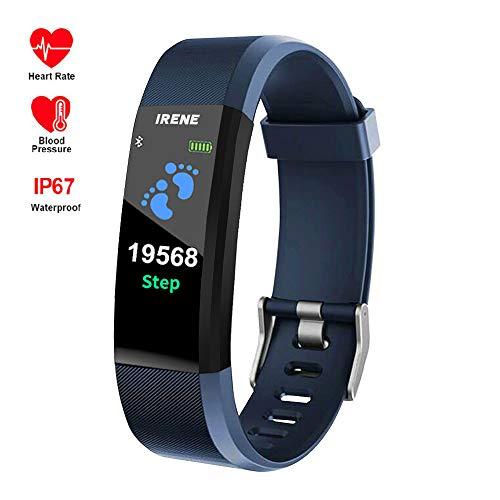 IRENE Fitness Armband mit Pulsuhr, Smartwatch Wasserdicht Fitness Uhr Voller Touch Screen Fitness Tracker Pulsmesser Schrittzähler Sportuhr für Damen Herren Anruf SMS Beachten für iOS Android Handy