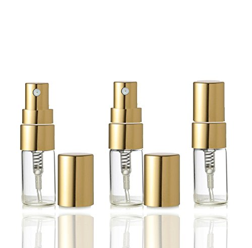 Grand Parfums Empty 3ml Glass Fine Mist Atomizer Bottles with Gold or Silver Caps Refillable Perfume Cologne Decant Spray Bottles (15 Atomizers/Gold Caps)