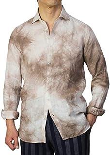 GUY ROVER シャツ セミワイドカラー リネン100% 製品洗い タイダイ染め S2670L501158 [並行輸入品]