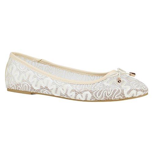 stiefelparadies Spitze Damen Schuhe Ballerinas Häkeloptik Slipper Flats 157215 Creme Schleifen 37 Flandell