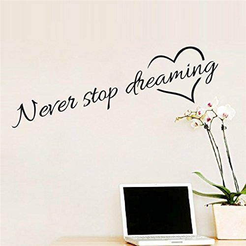 Adesivi Murali Frase'Never Stop Dreaming' Stickers Neri Frasi Scritte Muri in Camera da letto Dormitorio e Soggiorno Decorazione Parete