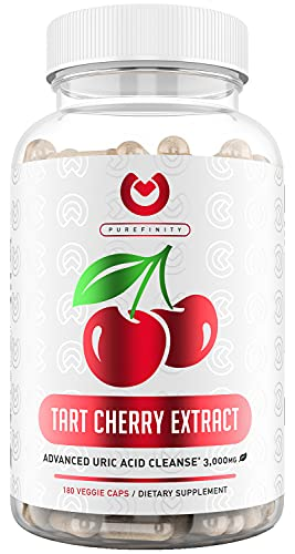 Purefinity Tart Cherry Capsules - Max Strength 3000mg | 6 Month Supply - Advanced Uric Acid Cleanse, Powerful Antioixidant w/ Joint Support - 180 Vegetable Capules.