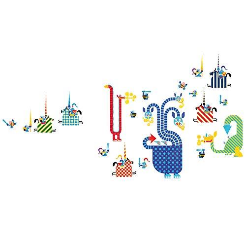 DJECO- Luftballons DJECOStickers Drachen, mehrfarbig, 12 Stück