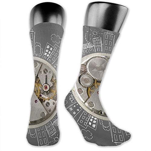 DHNKW Socks Compression Medium Calf Crew Sock,An Alarm Clock Print With Buildings And Clouds Around It Checking The Time Art