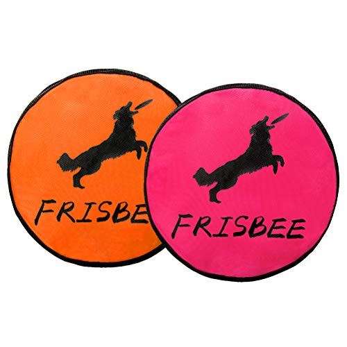 Mihachi 2 Pack Dog Frisbee Indestructible Durable Water Resistant Oxford Cloth Flying Discs Dogs Outdoor Toys