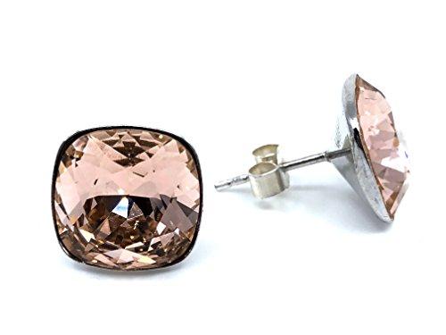 Pendientes mujer 100% Plata de Ley y baño de rodio con cristales Swarovski Elements®, pendientes ligeros para mujer