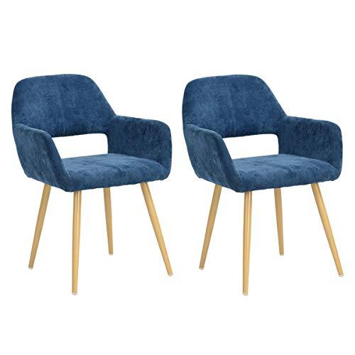 FurnitureR Juego de 2 sillas de Comedor con Brazos Sillas de cojín de Tela con Patas de Metal Resistentes para Comedor Azul