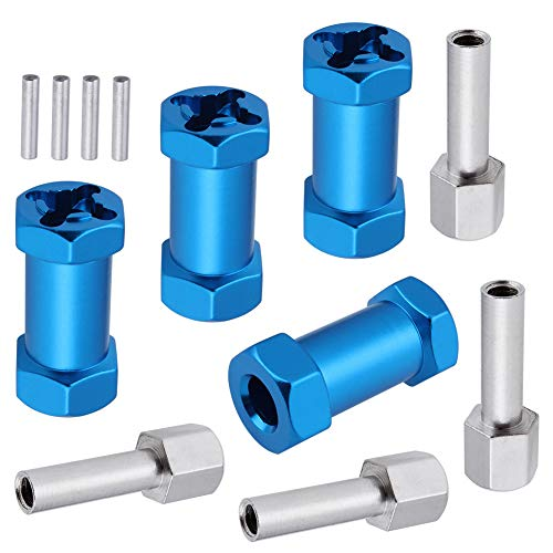 4-Pack HobbyPark RC Wheel Spacers 12mm Hex Drive Hubs Combiner Coupler Aluminum 25mm Offset Extension for 1/10 RC Crawler Car Parts (Blue)