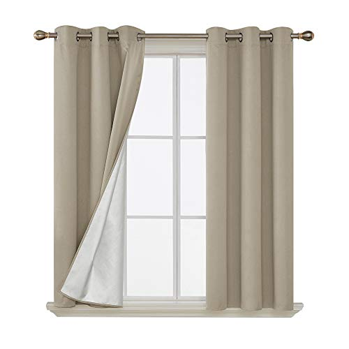 Deconovo Beige Blackout Curtains for Kids Thermal Insulated Curtain with Silver Coating Heavy Material with Easy to Use Grommets Blocks Sunlight 42 by 63 Inch Beige 2 Panels
