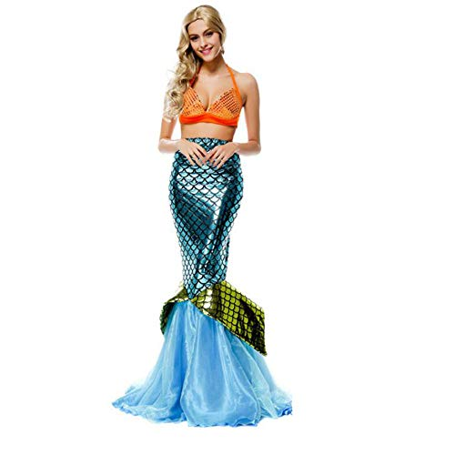 hengGuKeJiYo Donne Sirena Festa Ariel Principessa Cosplay Abito per Adulti Femmina Halloween Costumi da Sirenetta Fantasia Fancy Dress Up