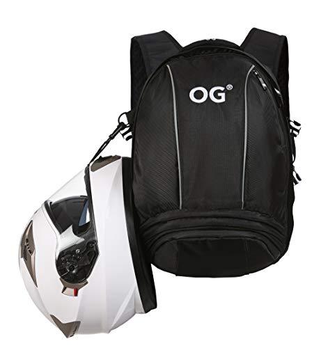 OG Online&Go Ez-Rider Zaino per Moto Nero 25L, Borsa Porta-Casco Moto, Cinghia per Casco, Antifurto, Impermeabile, Portatile, Rifrangente