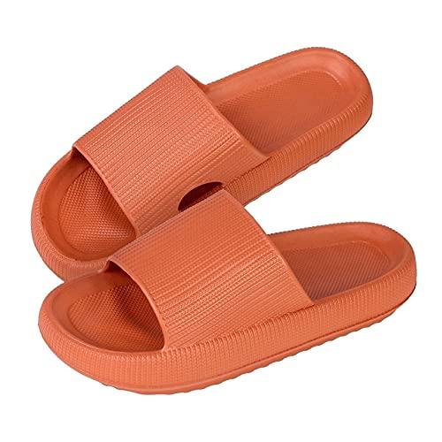 2021 Hombres Mujeres Zapatillas Planas , Antideslizantes Unisex Cómodas Zapatillas de Casa de Ducha Toboganes de Verano Zapatillas de Playa Planas Antideslizantes (Color : Orange, Size : Large)