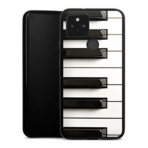 DeinDesign Silikon Hülle kompatibel mit Google Pixel 5 Case schwarz Handyhülle Klavier Musik Piano