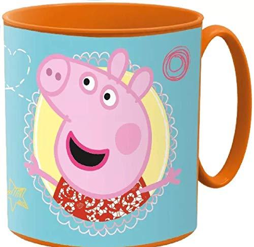 Little Flight Peppa Pig - Taza de plástico con asa para microondas, para la escuela o para la playa, vaso de plástico rígido de Peppa Pig, 1 taza de plástico rígido para el microondas.