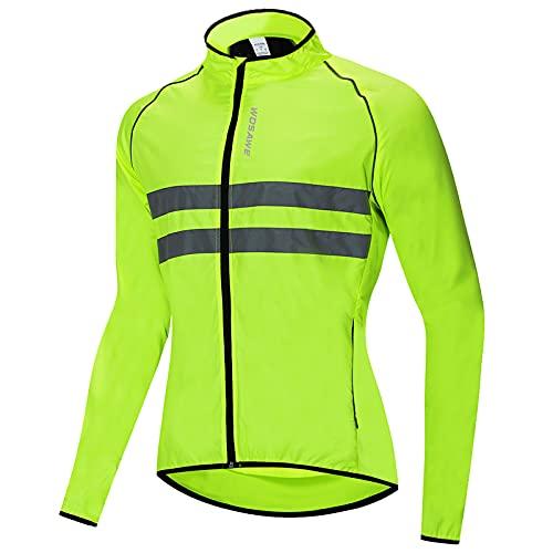 Groteen Roeam Chaqueta Cortaviento Hombre de Ciclismo,Resistente Viento y Agua,Tira Reflectante