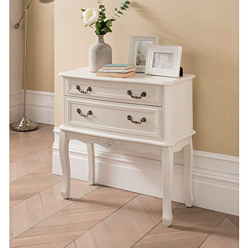 homesdirect365 Etienne White 2 Drawer Antique French Style Chest of Drawers