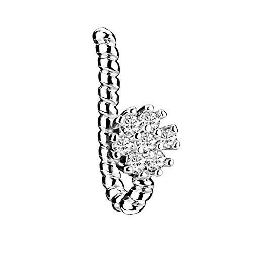 HLWJ Copper Crystal Leaf Flower Cross False Nose Ring Earring Fake Septum Ring Studs Women Ear Clip Non Body Piercing Jewelry (Color : EM0600A)