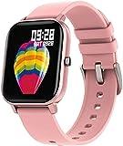 Reloj inteligente para hombre y mujer, pantalla táctil completa de 1.4 pulgadas, monitor de ritmo cardíaco, IP67, impermeable, GTS banda deportiva (color: gris) rosa