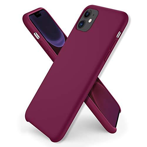 ORNARTO Custodia in Silicone Liquido per iPhone 11, Cover Sottile in Silicone Liquido in Gomma Gel Morbida per iPhone 11 (2019) 6,1 Pollici-Vino Rosso