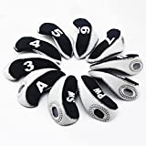 YARWAYER Golf Iron Head Covers Set, Thickened Waterproof Cue Protector Number Wedge Iron Protective Head Cover Fit Most Iron Clubs for Outdoor Travel (White)